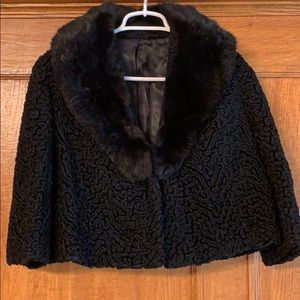 Vintage Persian lamb w/fur collar cropped coat S
